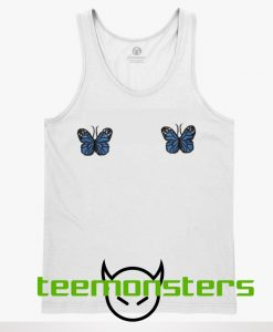 Blue Ribbed Butterfly Tanktop