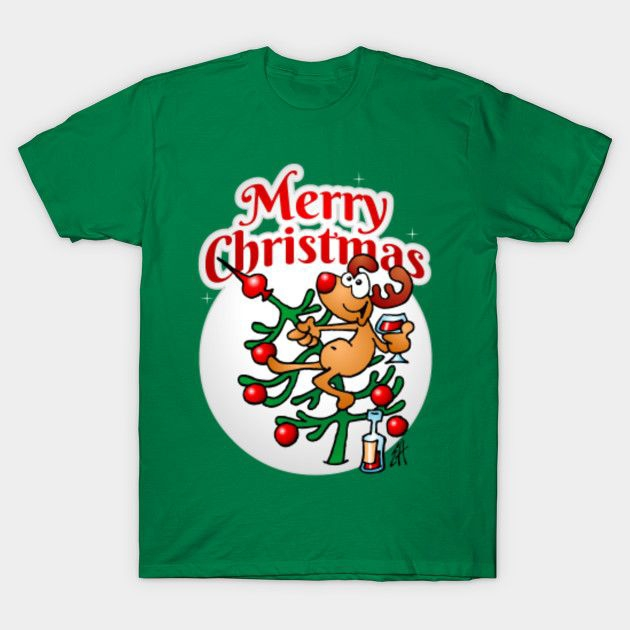 A reindeer in a Christmas tree - Merry Christmas by cardvibes shirt AD