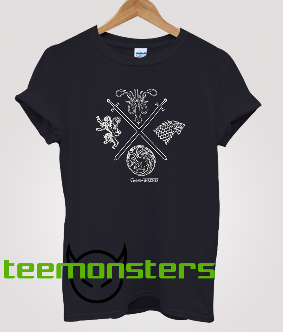 Game of Thrones Shirt Men's Four Houses Crossed Swords Graphic T-Shirt
