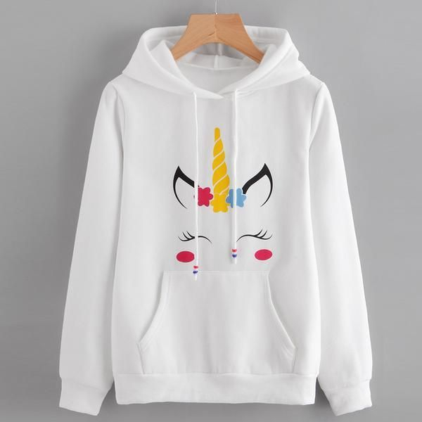 Womens Unicorn Print Long Sleeve Hoodie AD