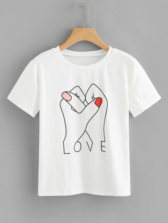 Graphic Print Love T-shirt RE23