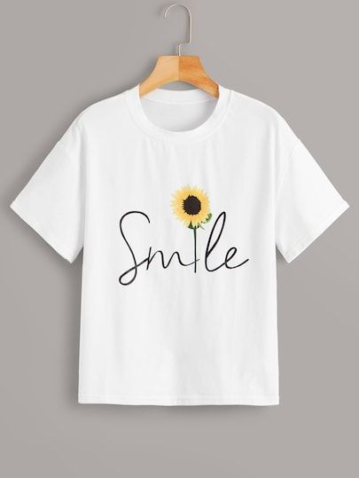 Sunflower & Letter Print Tee T-shirt RE23