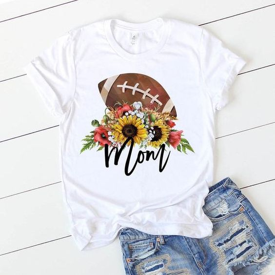 Football Mom Sunflower T Shirt ZX03